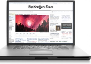 New York Times shown on Laptop