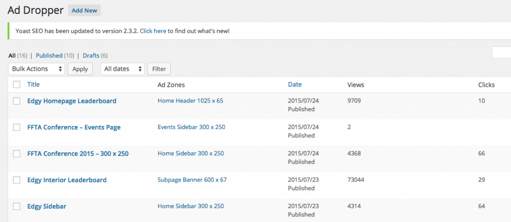 This is the Ad Dropper WordPress admin page - notice how the Ad Zones include the ad size to ensure consistent sizing.