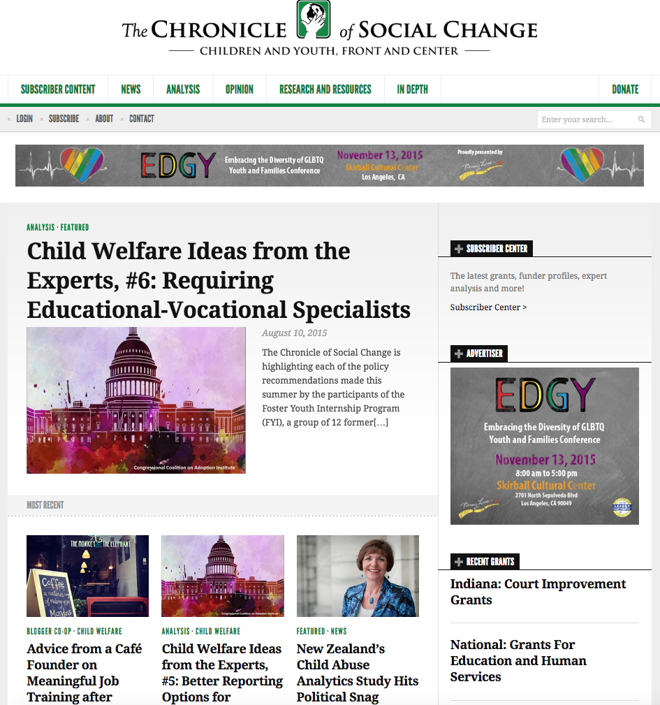 Periodical: Chronicle of Social Change New Homepage