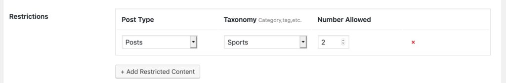 Category Restrictions sports