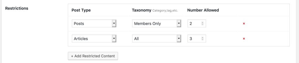 Category restrictions members only
