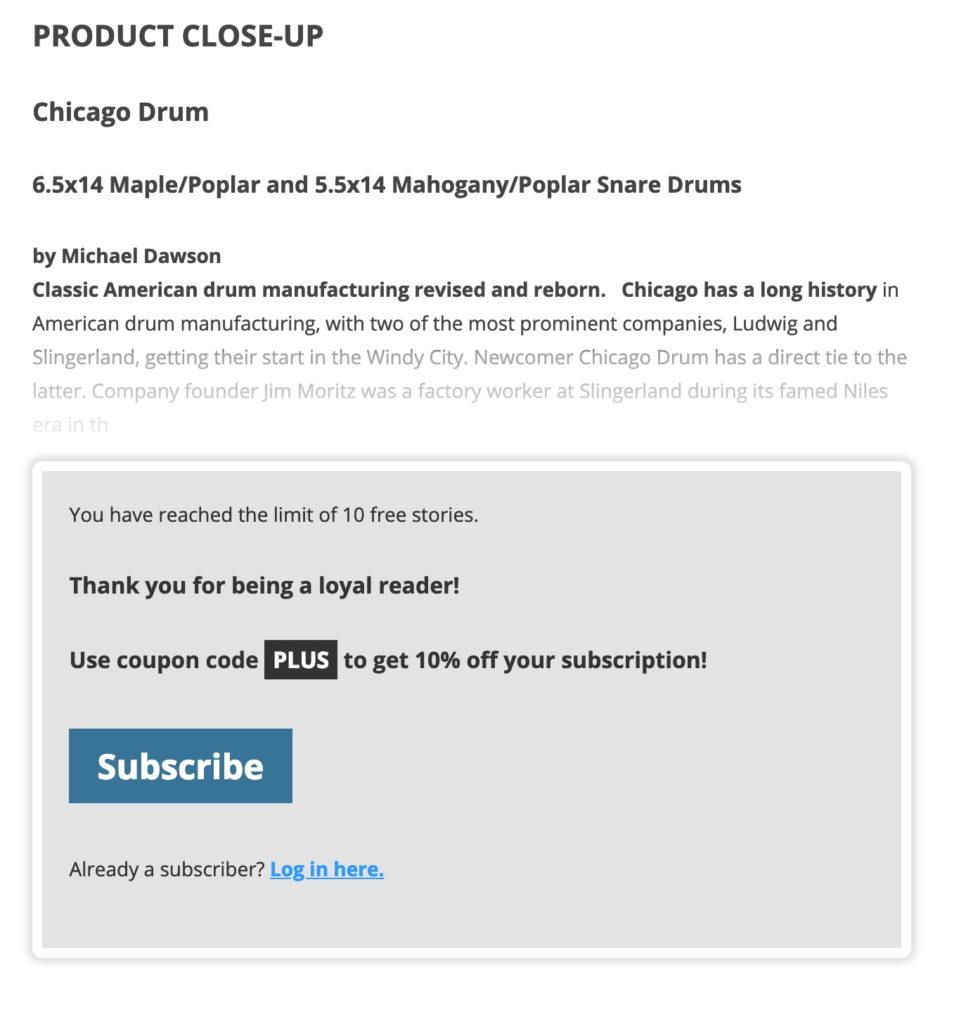 Leaky Paywall Subscribe Nag with Coupon