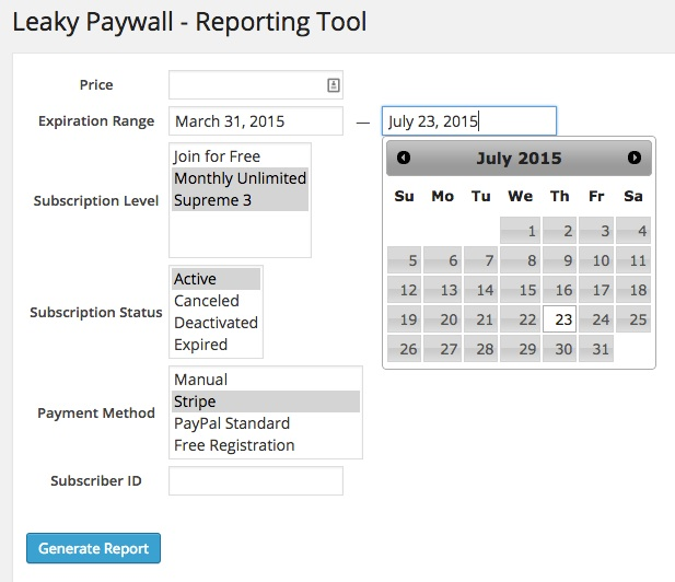Leaky Paywall Reporting tool dashboard