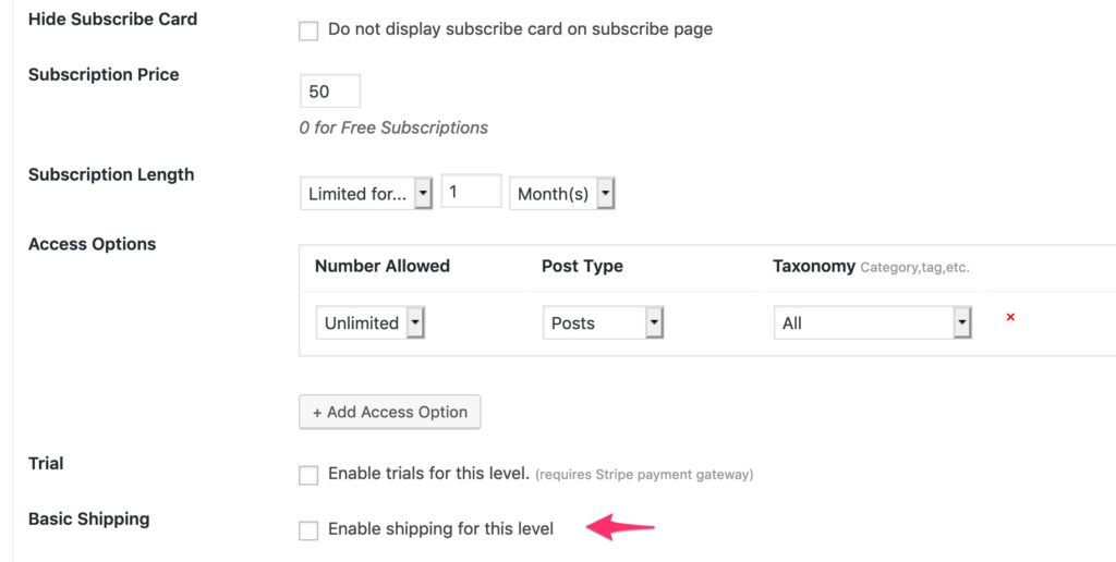 leaky paywall basic shipping per level settings