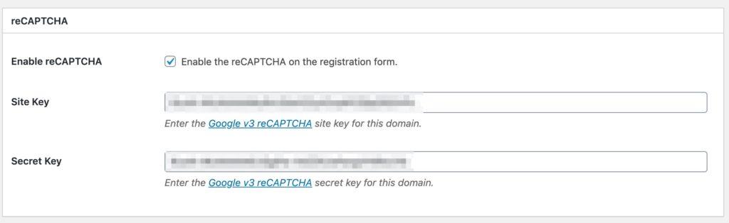 Leaky Paywall recaptcha settings