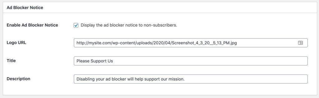 Leaky Paywall Ad Blocker Notice settings