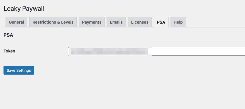 Leaky Paywall PSA settings